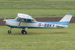 G-BBKY - 1973 Reims built Cessna F150L, arriving on Runway 26L at Barton
