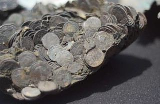 coin pile discovered in Israeli port of Caesarea