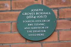 Photo of Joseph Boxhall green plaque