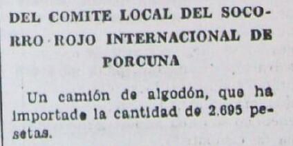Donativo del CRI de Porcuna al 2º Batallón de Milicias de Jaén..