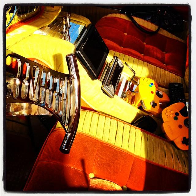 custom car show playstation interior upholstery yellow orange margaret hunt hill bridge grand. Black Bedroom Furniture Sets. Home Design Ideas