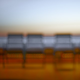 Cannes - Chairs on the Croisette at sunset