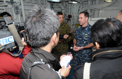 Capt. David Fluker answers questions for the Japanese media.