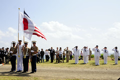 IWO TO, Japan (March 14, 2012) Sailors from USS Germantown (LSD 42) and guests render honors as the honor guard parade the colors during the Reunion of Honor Ceremony. (U.S. Navy photo by Mass Communication Specialist 1st Class Johnie Hickmon)  See more photos from the ceremony.