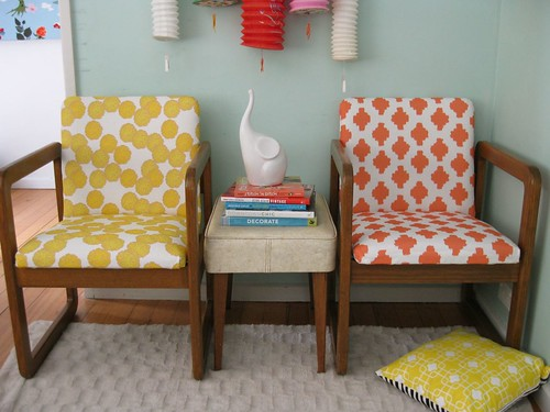 Sorbet upholstered retro chairs