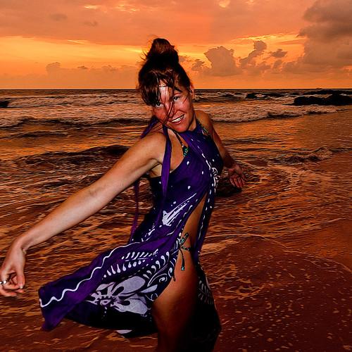 ocean sunset sea sky woman beach girl asia waves jessica srilanka sarong bentota
