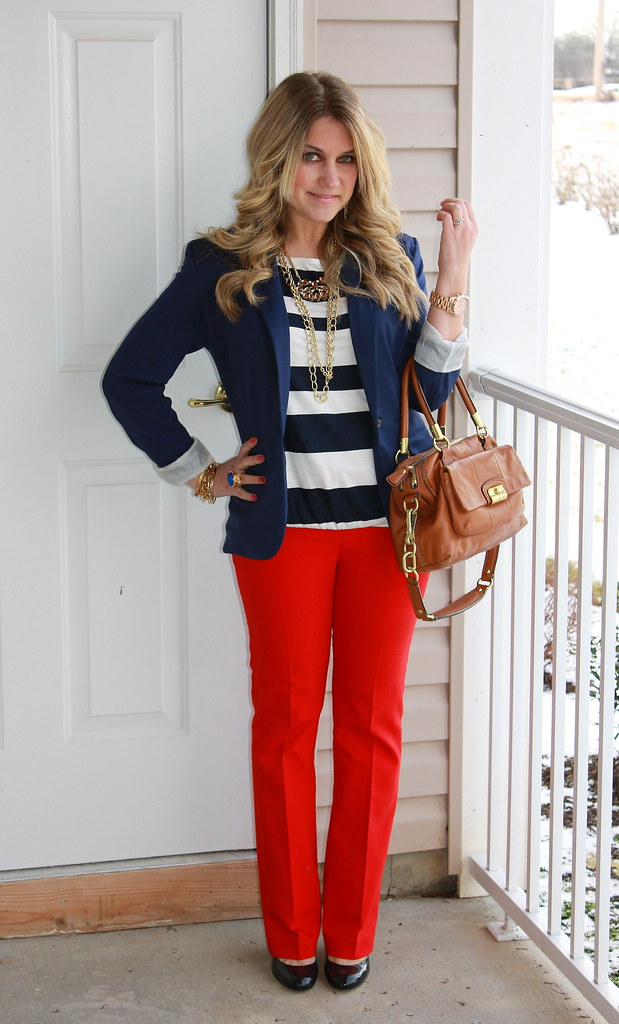 red, white, and navy teacher outfit