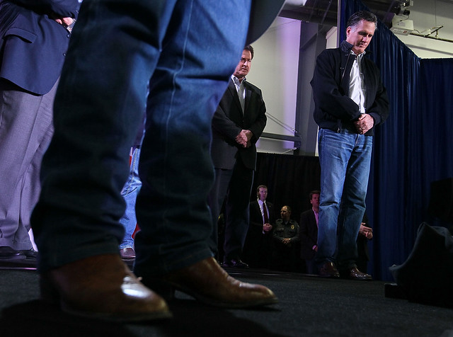 Mitt Romney Bows His Head in Prayer in Elko, Nevada