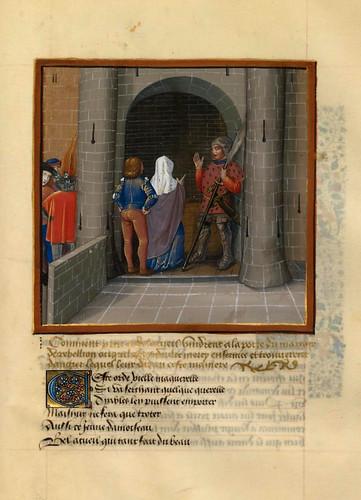 014-Piedad y Bella Acogida se encuentran con Peligro en ell señorio de Rebelion-fol 126--Le livre du Coeur d'amour épris, par le roi René d'Anjou-1460