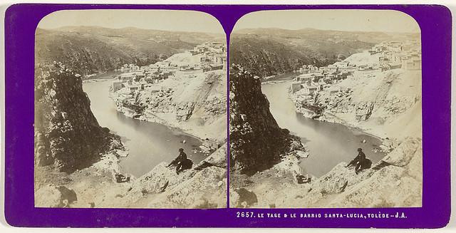 Toledo visto desde la desembocadura del Arroyo de la Degollada. Fotografía estereoscópica de Jean Andrieu en 1868 con número de serie 2657