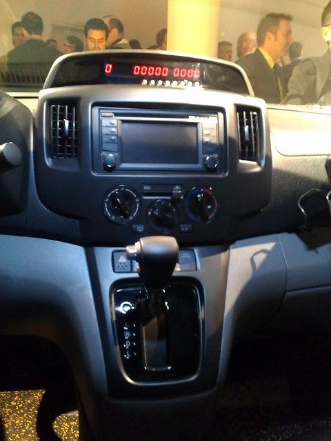 Center console of the Nissan NV200 showing integrated taxi meter