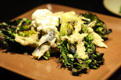 Charred Little Gem Lettuce with Pickled Sardines, Burrata, and Dijon