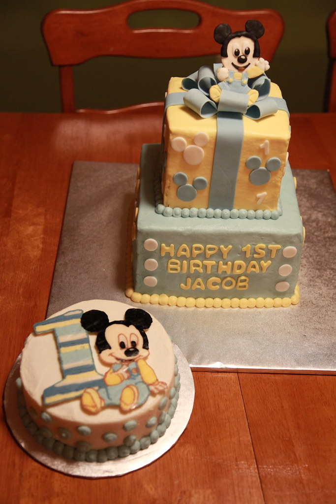 Baby Mickey Mouse First Birthday Cake