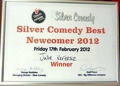 The Silver Comedy Best Newcomer 2012 Julie Kertesz certificate by Julie70