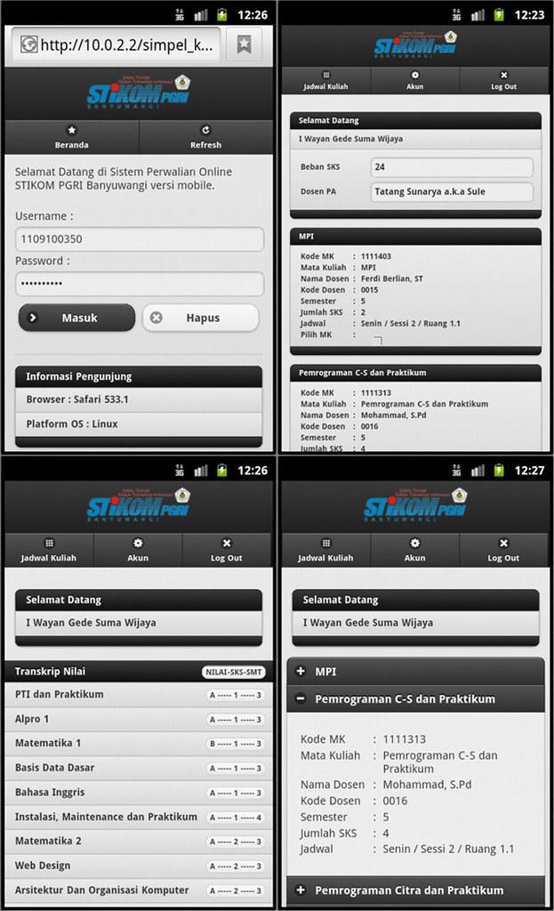 Tutorial CodeIgniter : Contoh Aplikasi Perwalian/KRS Versi Mobile Dengan CI+jQueryMobile