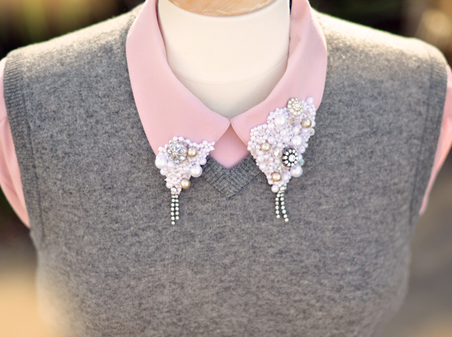 Embellished collar diy - pink and gray
