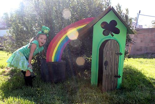 Cardboard Leprechaun house with rainbow