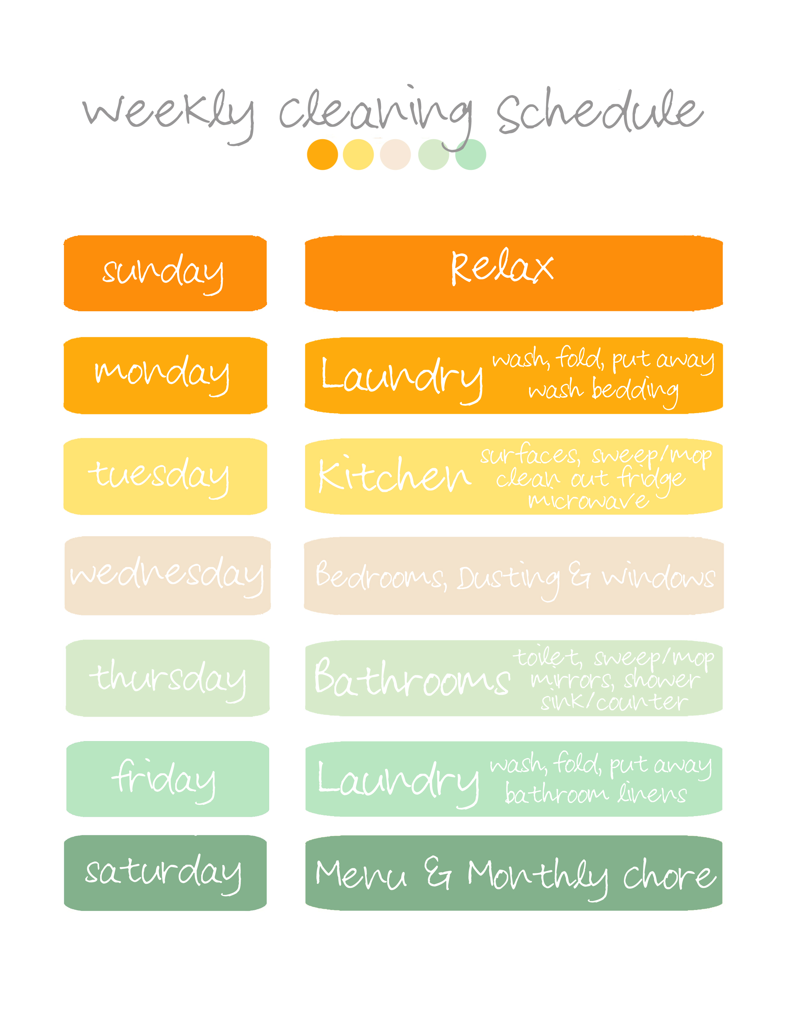Monthly House Cleaning Schedule Template Vatoz Atozdevelopment Co