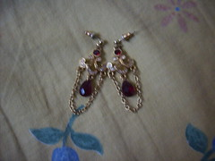 Red and Gold Dangling Earrings