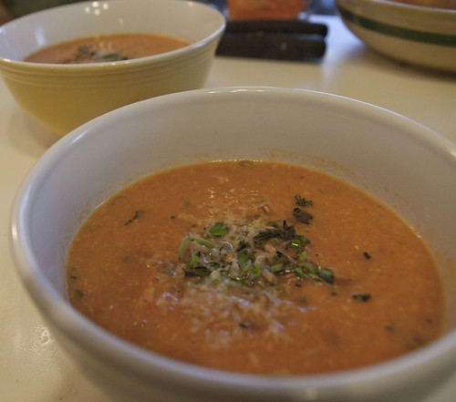 Tomato and Garbanzo Bean Soup with Marjoram and Wheat Berries