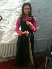 pinned and pleated kirtle on