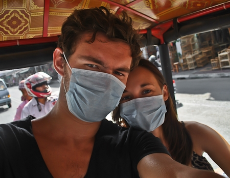 On a dusty tuk-tuk ride in Phnom Penh