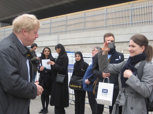Boris Being Interviewed at Crossrail Tunnel Boring Machine Launch - 13th March 2012