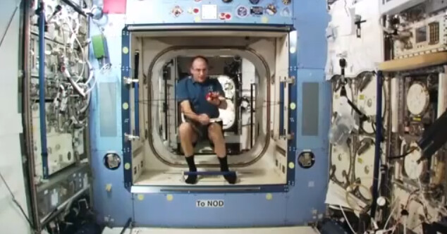 Nasa Astronaut Don Pettit Launching An Angry Bird On The Iss