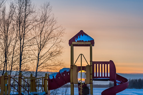 winter sunset red cold playground yellow alaska nikon unitedstates icy wasilla lakelucille d700 carterpark