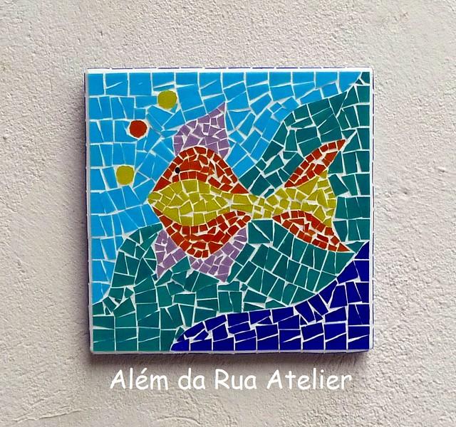 Quadro de mosaico, com motivo marítimo