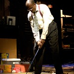 Roosevelt Hicks (James A. Williams) practices his swing in the Huntington Theatre Company's production of August Wilson's <i>Radio Golf</i> at the Boston University Theatre. Part of the 2006-2007 season. Photo: Eric Antoniou.