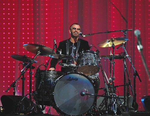 <p>Ringo Starr is at home on his drumset while performing at the &quot;Change Begins Within&quot; concert at Radio City Music Hall in 2009.</p>