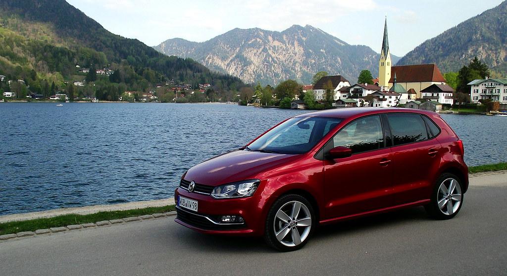 VW Polo V 1.4 TDI 66 kW 90 PS Highline Sunset Red Metallic Typ 6R 2014 Seitenansicht Tegernsee Rottach-Egern