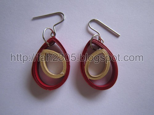 Paper Jewelry - Handmade Quilling Double Drops Earrings by fah2305