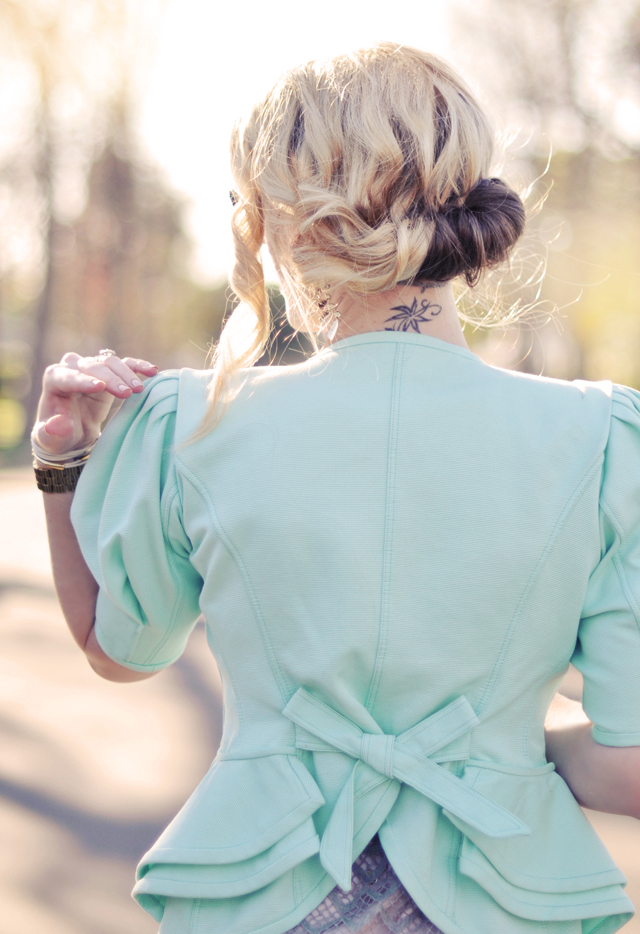 mint jacket- peplum jacket - hair-messy updo