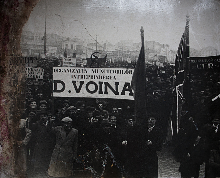 Voina on an old photo,  Museum of the Romanian Peasant, Bucharest. Feb, 2012