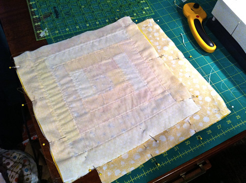pinned outer bag sections and lining