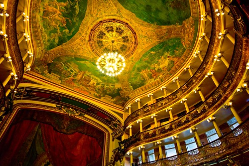 Interior (ceiling & chandelier), Opera house, Manaus