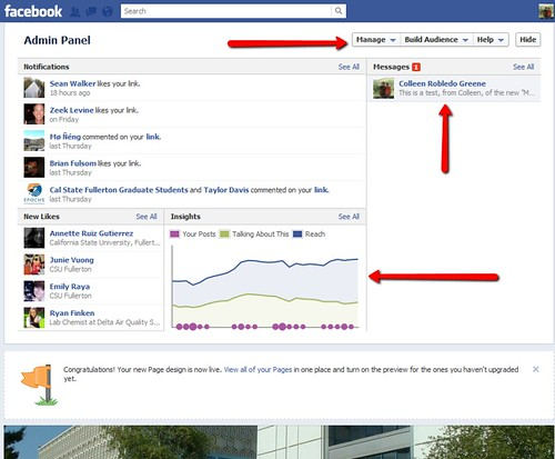 Facebook Pages Timeline - admin view