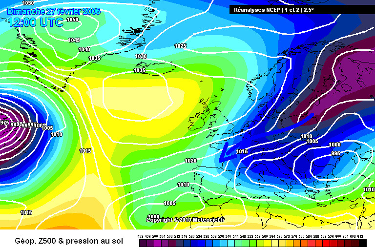 carte de situation de la vague de froid fin février début mars 2005 météopassion