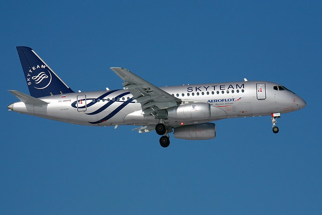 Sukhoi Superjet 100 in SkyTeam livery