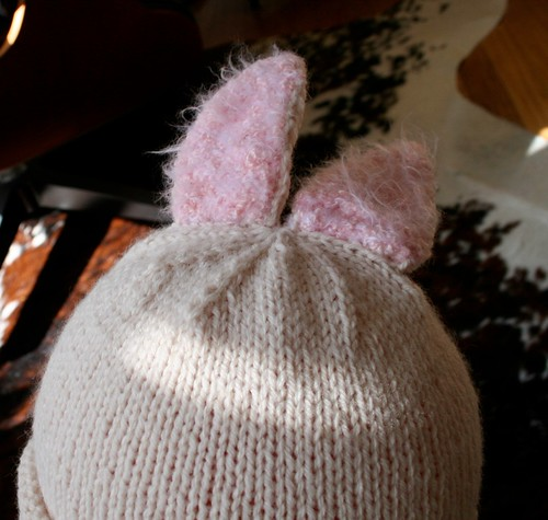 bunny hat on head