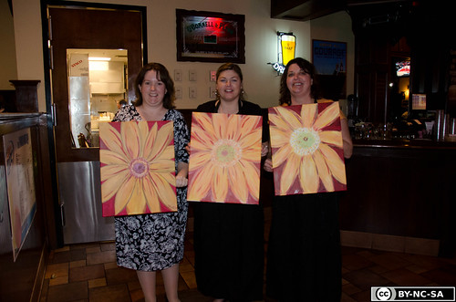 Cathy, Renee and I at Wine and Canvas