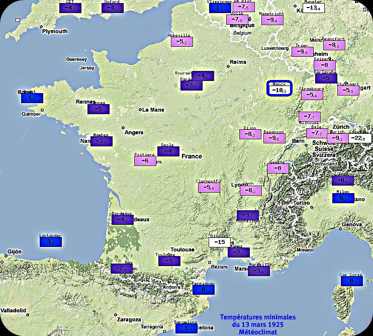 températures minimales glaciales du 13 mars 1925 météopassion