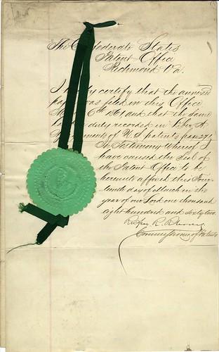Patent - Confederate States of America (1 of 2)