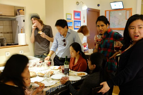 pizza night at the hostel