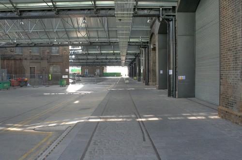 Original rail tracks preserved in the restoration