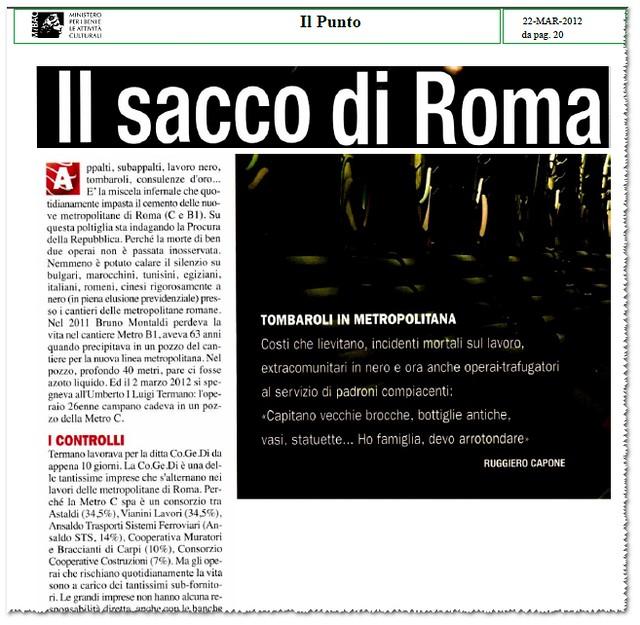 """ROMA ARCHEOLOGICA - Il Sacco di Roma, Tombaroli in Metropolitana [B1 e C], """"Capitano vecchie brocche, bottiglie antiche, vasi, statuette..."""", IL PUNTO (22/03/2012), p. 20. [PDF, pp. 1-2]. cfr: Roma, Metropolitana A, ecc., Il New York Times, (23/01/1971)."""