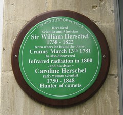 Photo of William Herschel and Caroline Herschel green plaque
