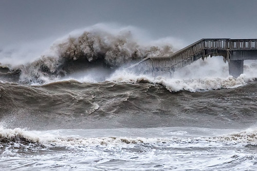 bridge winter sea storm waves bulgaria burgas